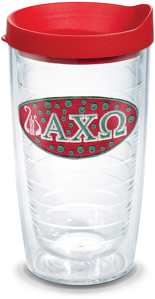 Tervis 1078461 Fraternity - Alpha Chi Omega Tumbler with Emblem and Red Lid 16oz, Clear