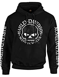 Military - Men's Skull Graphic Pullover Hoodie - Handmade...