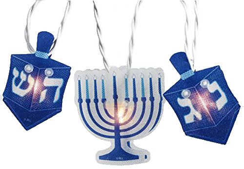 Hanukkah Hologram 10 Reflectors Light Set, Blue/White -