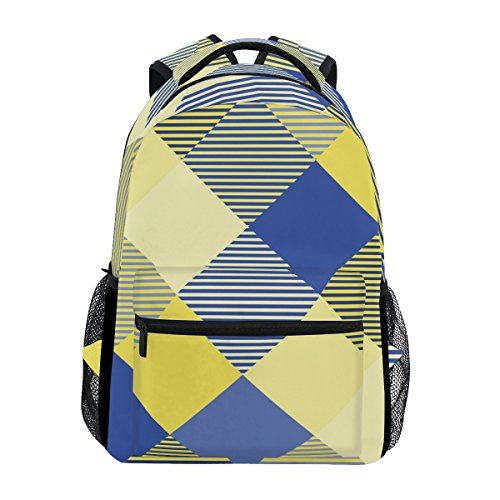 Colorful Splicing Stripe School Backpack, Waterproof Laptop Bag Starry Sky Printing Design Daypack for Travel, School and Sports Shoulder Bag (Splicing Braid Double)