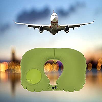STLY Push Type Inflatable U-shaped Pillow Neck Rest Air Cushion Foldable Car Train