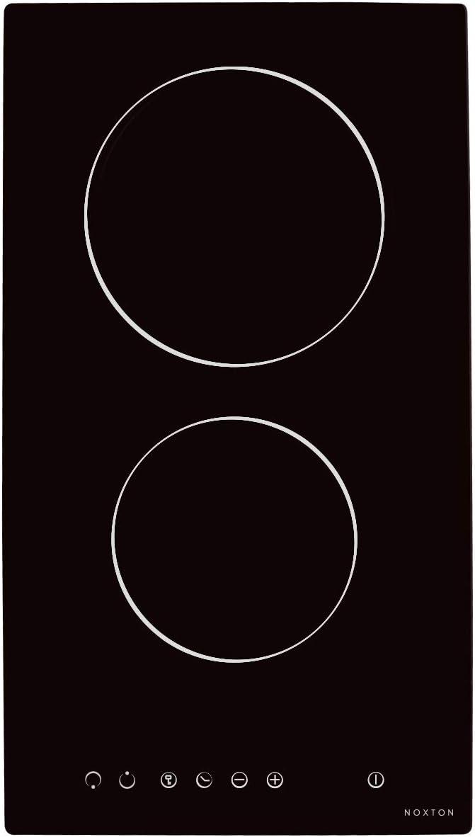 NOXTON Placa Vitrocerámica con 2 Zonas De Cocción Construido en Placas eléctricas de 30 cm Placa Caliente de Cristal Negro Estufa con Sensor de Control táctil Superior