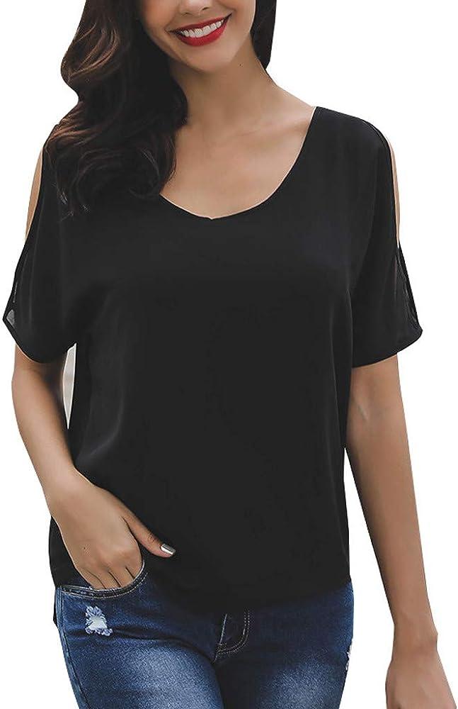 FAMILIZO Camisetas Mujer Verano Blusa Elegante Fiesta Originales Tallas Grandes Camisas Mujeres Casual Diario Manga Corta Soild Suelta Señora De Hombro Camisa Tops Blusa: Amazon.es: Ropa y accesorios