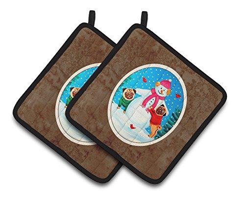 Snowman Holder Pot - Caroline's Treasures Snowman with Pug Winter Snowman Pair of Pot Holders 7115PTHD, 7.5HX7.5W, Multicolor