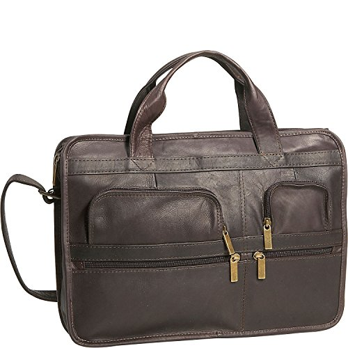 David King Leather Multi Pocket Organizer Briefcase in Cafe