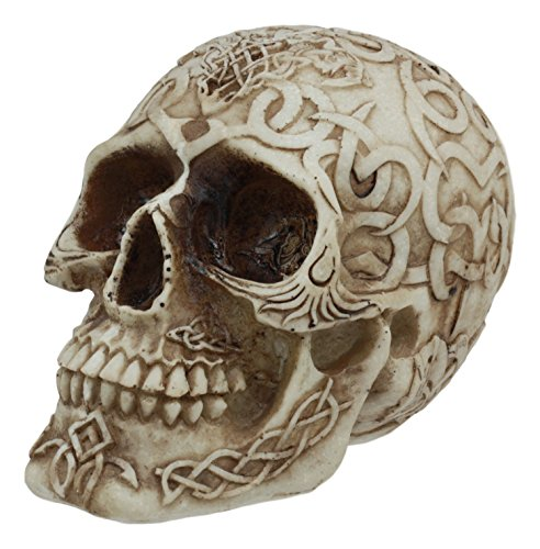 Ebros Celtic Astrology Tribal Knotwork Tattoo Relic Skull Statue 6.25