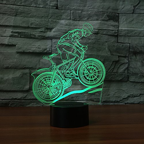 Bicycle 3D Illusion Lamp Night Light 7 Colors Change Night Light Touch Button Creative Design Decorative Lighting Effect Lamp