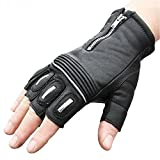 UXOXAS Windproof Protective Short Half Finger Racing cling Bike Sports Glove Motocross Leather Motorcle Gloves, black-m, black-m