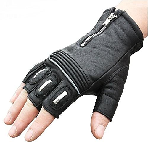 UXOXAS Windproof Protective Short Half Finger Racing cling Bike Sports Glove Motocross Leather Motorcle Gloves, black-m, black-m