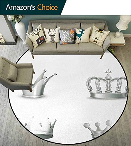 Silver Traditional Round Area Rug Design,Different Kinds Of Antique Crowns Queen King Imperial Theme Vintage Symbol Non-Slip No-Shedding Kitchen Soft Floor Mat Diameter-39 Inch,Pale Green White