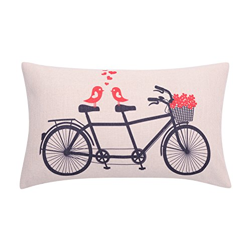 BreezyLife Valentines Day Lumbar Pillow Cover Love Birds with Flower Basket Decorative Pillow Case Spring Bicycle Cushion Cover for Sofa Couch Outdoor Home Decor Housewarming Gift 12 x 20 Inches