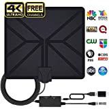 HDTV Antenna Amplified HD Digital Indoor TV Antenna 70-100 Miles Range with Amplifier Signal Booster Support 4K HD 1080P VHF UHF Freeview Local Channels - 16.5ft Coax Cable and Power Adapter
