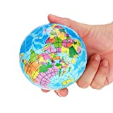 Dianli 2019 Newest Jumbo World Map, 60mm Squishies Stress Relief World Map Foam Ball Atlas Globe Palm Ball Planet Earth Ball Toy for Kids Adult