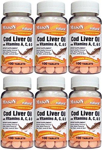 Mason Vitamins Cod Liver Oil With Vitamin A, C & D Orange Flavor Chewable Tablets, 6 Bottle Total 600 Tablets
