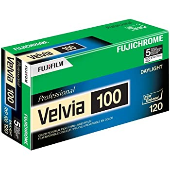 Fujifilm 16326107 Fujichrome Velvia 120mm 100 Color Slide Film ISO 100 - 5 Roll Pro Pack (Green/White/Purple)