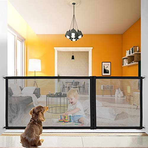 Dog Magic Gate, Upgraded Pet Safety Gate, Zip Design Adjustable in 3 sizes70.9″/43.3″/27.6″, Portable Folding Mesh Extra-Wide Magic Guard, with Heavy-Duty Magic Tape, Easy Install Anywhere