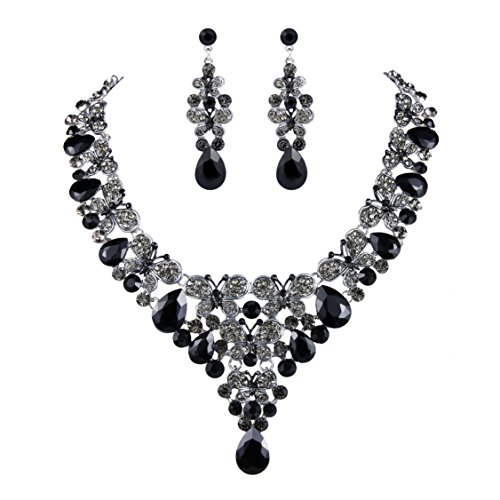 EVER FAITH Rhinestone Crystal Enamel Butterfly Teardrop Necklace Earrings Set Black Silver-Tone