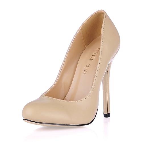 CHMILE Chau-Zapatos para Mujer-Bombas de Tacon Alto de Aguja-Talón Delgado