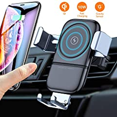 VANMASS wireless car charger air vent phone holder, Compatiable with all Qi-Certified smartphonesConvenient viewing and wireless charging on the driving Get the most out of your phone while driving with this wireless charging mount that allow...