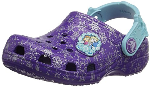 crocs Classic Frozen Clog (Toddler/Little Kid), Neon Purple, 4/5 M US Toddler