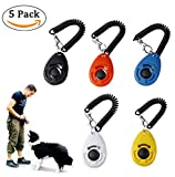 QIBOX 5-Pack Dog Training Clickers with Wrist Strap - Pet Accessories Big Button Pet Training Clicker Set for Cat, Bird, Chicken, Sheep, Horse [5 Colors of 2017 Latest Upgrade Version]