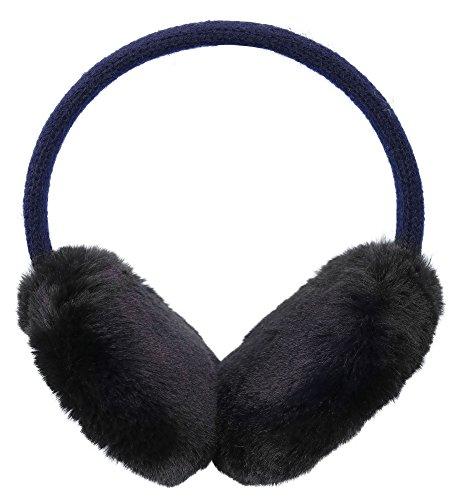Kids Girls Winter Warm Faux Fur Plush Patterned Earwarmer Knitted Earmuffs