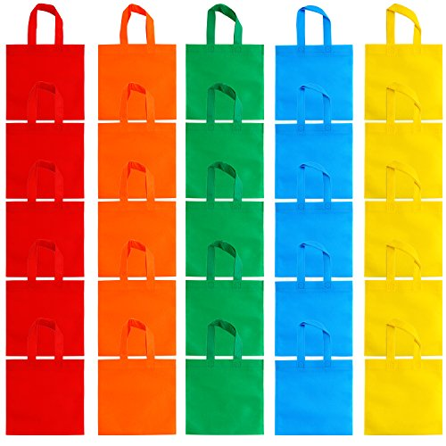 Aneco 25 Pack 9.5 x 9.5 Inch Non-woven Tote Bags Party Gift Bag Goodie Treat Bags with Handles Party Favor, 5 Colors -