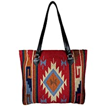 Large Tote Bag, Southwest and Native American Designs on Hand-woven Wool