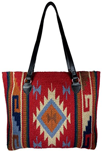 Native American Style Hand-woven Wool Large Tote Bag, (Hopi D)