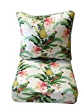 Indoor / Outdoor Cushions for Deep Seating Furniture Chair - Tommy Bahama Home Fabric - White Beach Bounty Lush Green - Tropical Bird, Pineapple, Floral - Choice of Size (SEAT CUSHION - 24'' W X 24'' D)