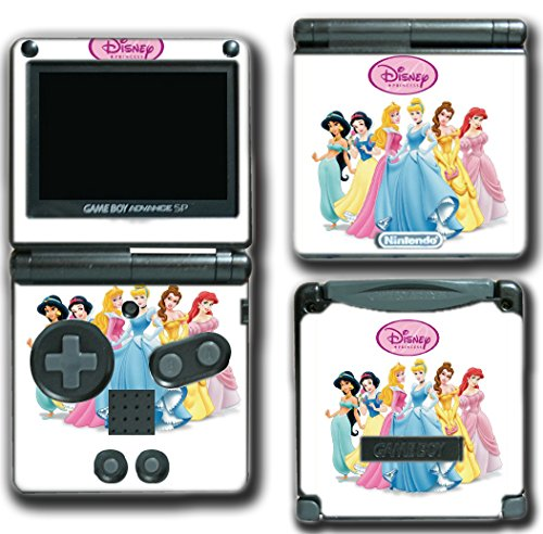 (Princess Friends Ariel Cinderella Belle Jasmine Queen Video Game Vinyl Decal Skin Sticker Cover for Nintendo GBA SP Gameboy Advance System)