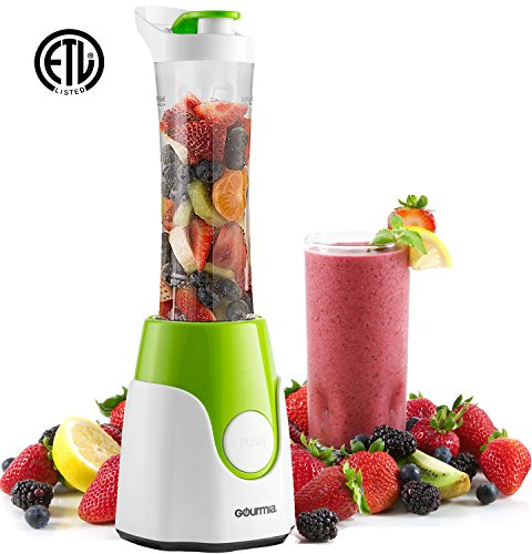 Gourmia GPB250 Personal Home Blender - BlendMate Smoothie Plus Edition - with Travel Sport Bottle Lid and Dual Action Blade 250W - Green - Free E-Recipe Book Included
