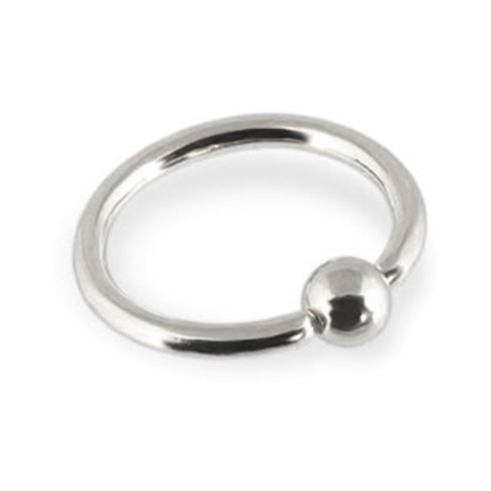 MsPiercing 14K Gold Captive Bead Ring, Gauge: 14 (1.6Mm), 14K White Gold, 7/16'' (11Mm) With 3/16'' (5Mm) Ball(S)