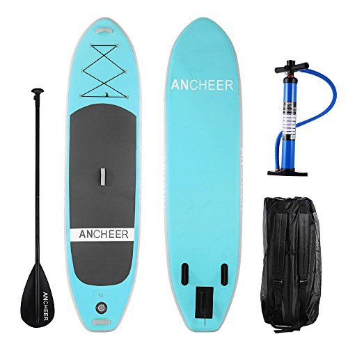 ANCHEER Paddle Board, Inflatable SUP Paddle Board Stand Up, SUP Board, iSUP Board with Adjustable Paddle and Dual Action Pump and Backpack, 10' Long x 32'' Wide x 6