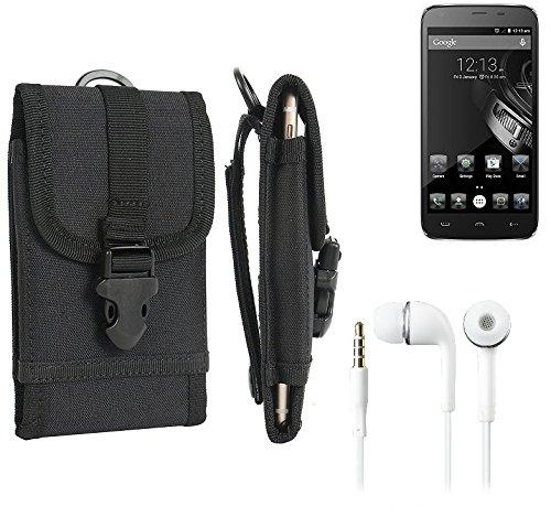 bolsa del cinturón / funda para Homtom HT6, negro + Auriculares | caja del teléfono cubierta protectora bolso - K-S-Trade (TM)