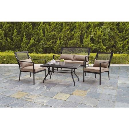 Mainstays Bellingham 4-Piece Durable, Powder-coated Steel Framed Beige Patio Conversation Set, Seats 4 (Cheap Patio Sets)