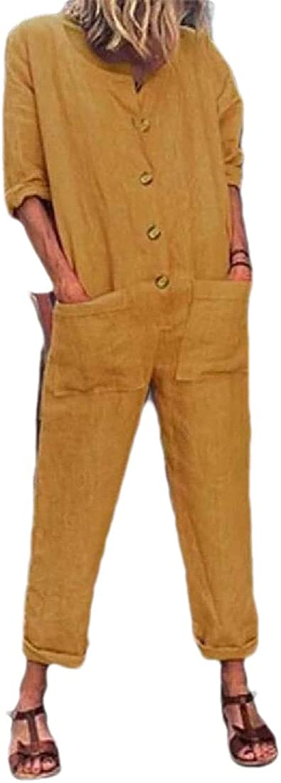 Women Fashion Casual Button Down Long Sleeve Wide Leg Jumpsuits Long Pants Loose Romper