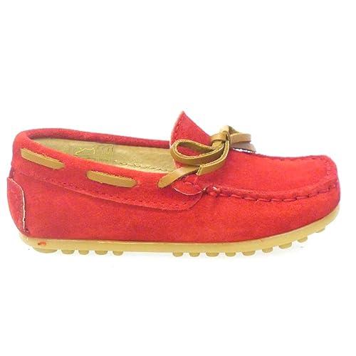 CLARYS Mocasín Nobuck Rojo con Lazo N20154: Amazon.es: Zapatos y complementos