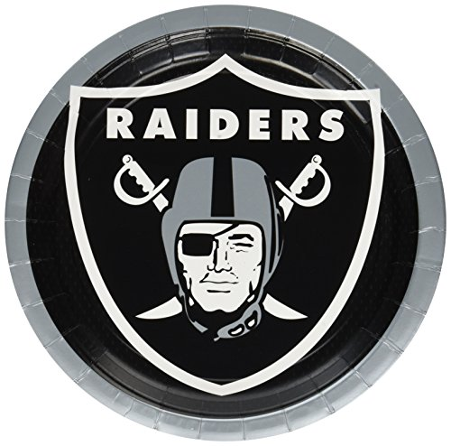 Amscan Oakland Raiders Lunch Plates NFL Football Sports Party Disposable Tableware (Pack of 8), 9