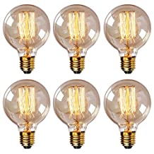 T.Y.S Lighting Decorative Incandescent Vintage Edison Light Bulb E26,40W,G80 straight line (Pack of 6)