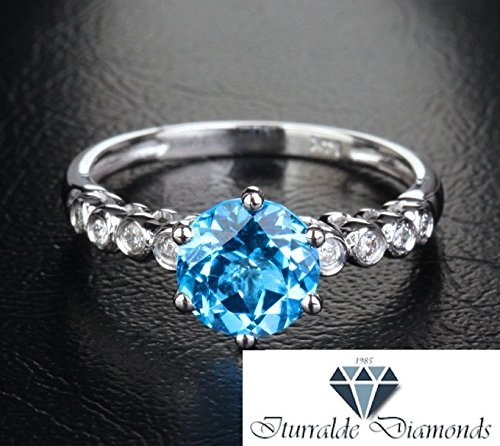 - 14k Round Cut Topaz 8 Bezel Set Diamond Accent Engagement Ring