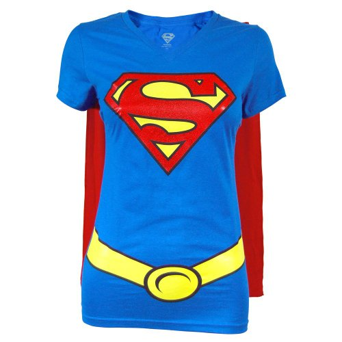 Supergirl Juniors Royal V-neck Cape Tee (Large) ()