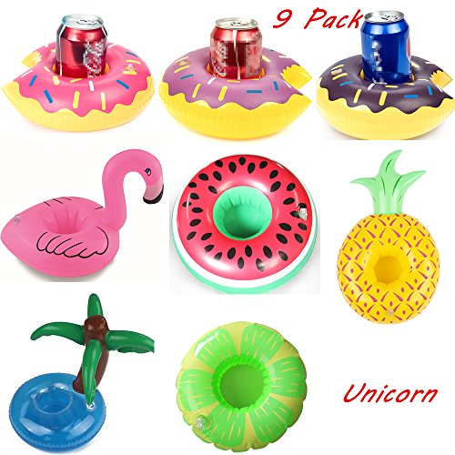 Inflatable Drink Holders,9 Pack Unicorn Flamingo Plam Donut Fruit Inflatable Party Cup Holders,Party Supplies Pool Beach Festival Holiday Birthday Halloween Christmas For Party Fun