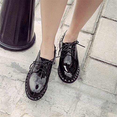 Damesschoenen Klassiek Vintage Multicolor Leren Vintage Oxford Schoenen H-1 Zwart