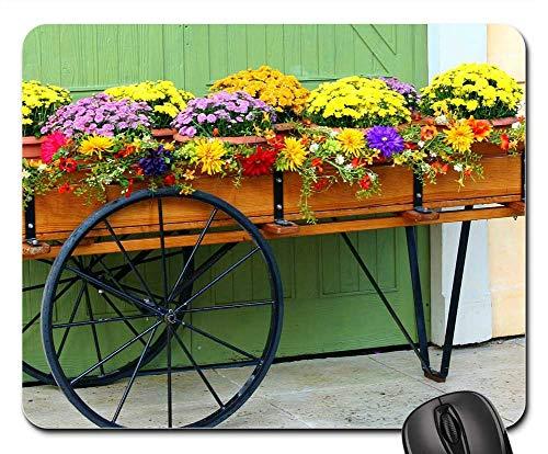 Mouse Pad - Flower Cart Wagon Mums Chrysanthemums Floral