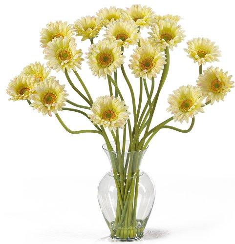 Nearly Natural 1086-CR Gerber Daisy Liquid Illusion Silk Flower Arrangement, (Nearly Natural Gerber Daisy)