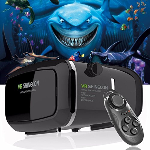 "Ying source 3D VR Headset Glasses Virtual Reality Mobile Phone 3D Movies for iPhone 6s/6 plus/6/5s/5c/5 Samsung Galaxy s5/s6/note4/note5 and Other 4.7""-6.0"" Cellphones + Remote Controller"