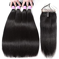 Flady Brazilian Straight Human Hair 4 Bundles with Middle Part Closure 10A Unprocessed Virgin Brazilian Straight Hair Bundles with Closure (18 20 22 24+16inch)