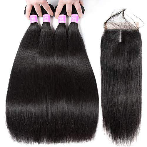 Flady Brazilian Straight Hair 4 Bundles with Middle Part Closure 10A Unprocessed Straight Virgin Human Hair Bundles with Closure (22 24 26 28+20inch) ()