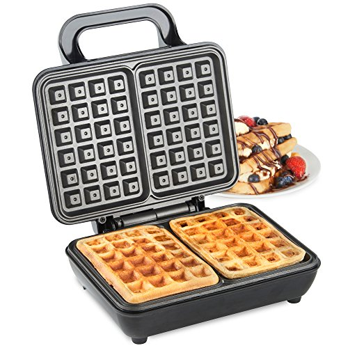 -[ VonShef Dual Belgian Waffle Maker 1000W – Compact Stainless Steel Design with Non-stick Co
